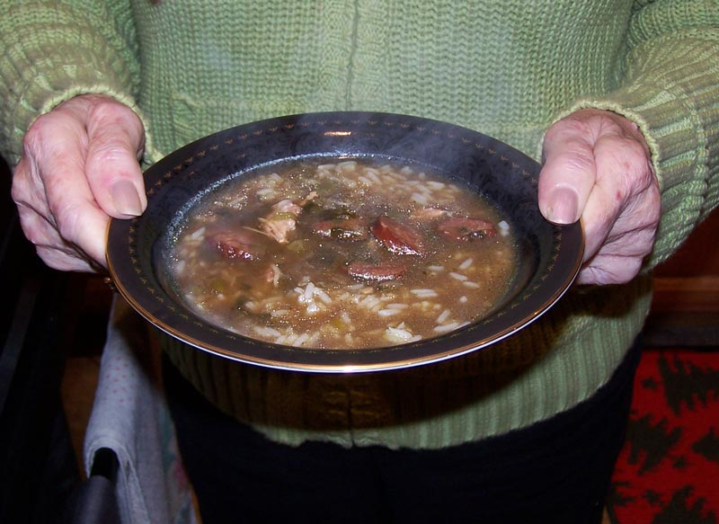 The gumbo ready for eating
