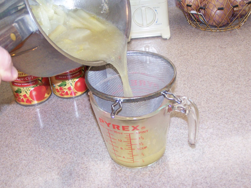 Strain the chicken stock